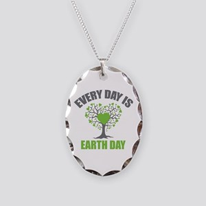 Every Day Earth Day Necklace Oval Charm
