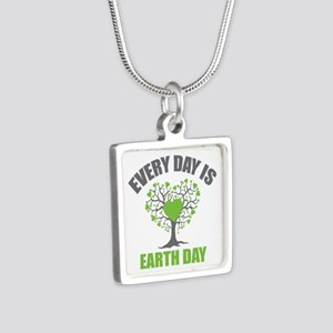Every Day Earth Day Silver Square Necklace