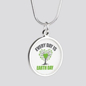 Every Day Earth Day Silver Round Necklace