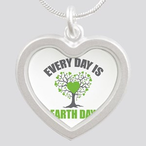 Every Day Earth Day Silver Heart Necklace