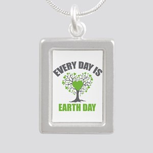 Every Day Earth Day Silver Portrait Necklace