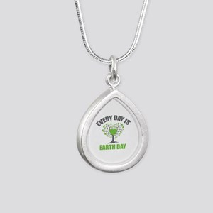 Every Day Earth Day Silver Teardrop Necklace