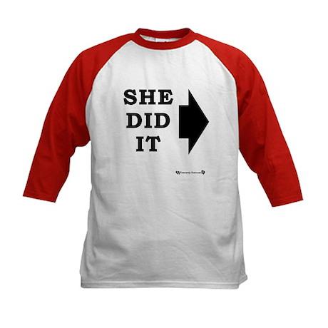 She Did It - RIGHT Kids Baseball Jersey