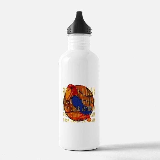 Rock Chalk Jayhawk Basketball Water Bottle