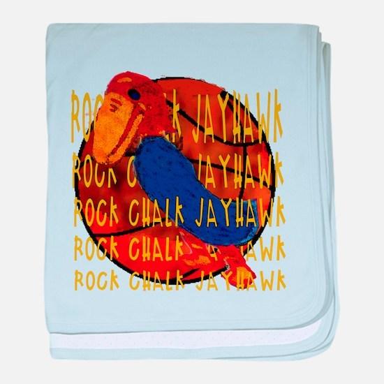 Rock Chalk Jayhawk Basketball baby blanket