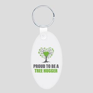 Tree Hugger Aluminum Oval Keychain