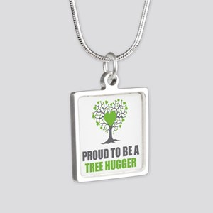 Tree Hugger Silver Square Necklace