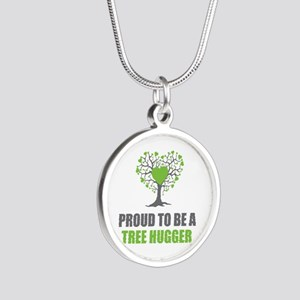 Tree Hugger Silver Round Necklace