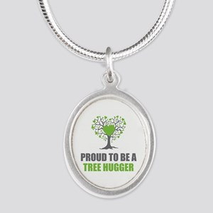Tree Hugger Silver Oval Necklace