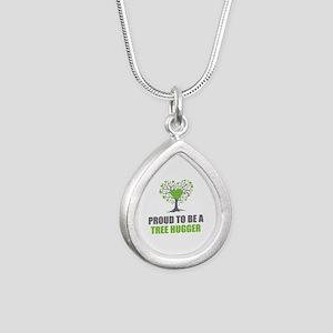 Tree Hugger Silver Teardrop Necklace