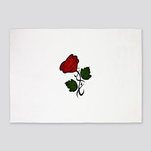 Single red rose 5'x7'Area Rug