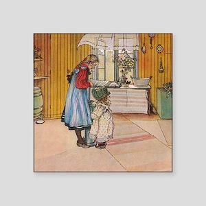 "The kitchen: Carl Larsson Square Sticker 3"" x 3"""