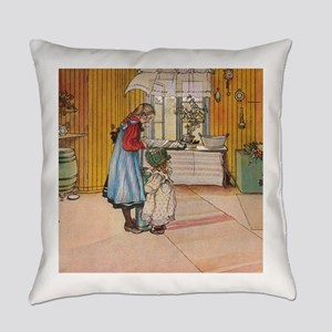 The kitchen: Carl Larsson Everyday Pillow