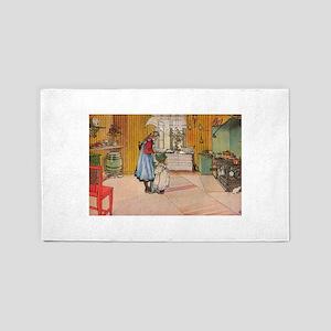 The Kitchen Vintage Illustration Area Rug