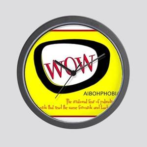 WOW AIBOHPHOBIA PALINDROMES Wall Clock