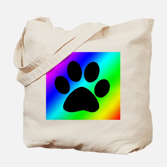 Rainbow Dog Paw Tote Bag