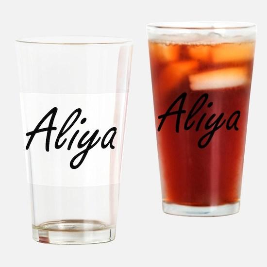 Aliya artistic Name Design Drinking Glass