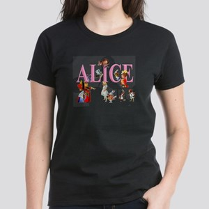 Alice and Friends in Wonderl Women's Dark T-Shirt