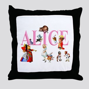 Alice and Friends in Wonderland Throw Pillow