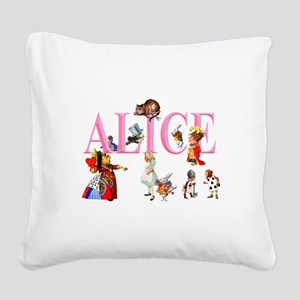 Alice and Friends in Wonderl Square Canvas Pillow
