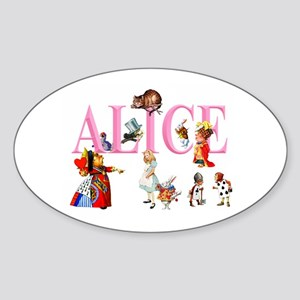 Alice and Friends in Wonderland Sticker (Oval)