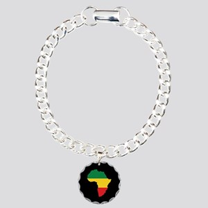 Green, Gold and Red Africa Flag Charm Bracelet, On