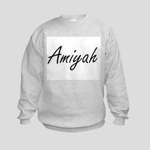 Amiyah artistic Name Design Kids Sweatshirt