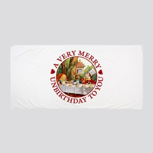 A Very Merry Unbirthday To You Beach Towel