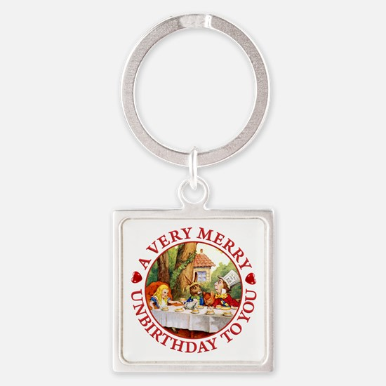 A Very Merry Unbirthday To You Square Keychain