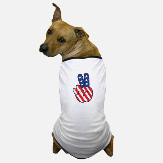 Peace USA Flag-01 Dog T-Shirt