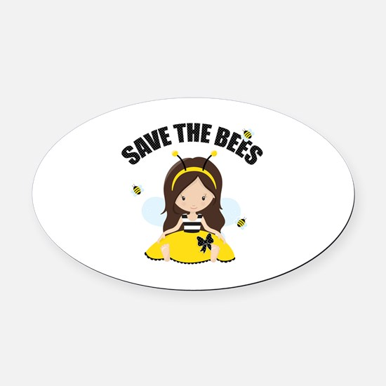 Save the Bees Oval Car Magnet