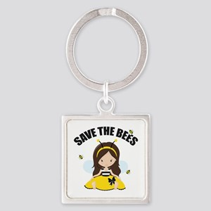 Save the Bees Square Keychain