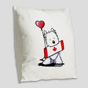 Canadian KiniArt Westie Fan Burlap Throw Pillow