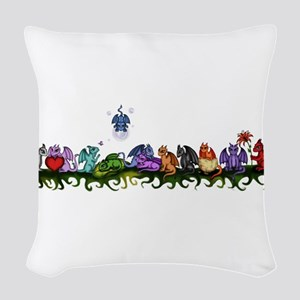 many cute Dragons Woven Throw Pillow