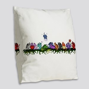 many cute Dragons Burlap Throw Pillow