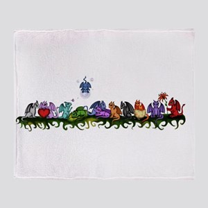 many cute Dragons Throw Blanket