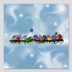 "many cute Dragons Sky Square Car Magnet 3"" x 3"""