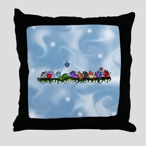 many cute Dragons Sky Throw Pillow