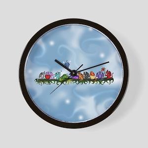 many cute Dragons Sky Wall Clock