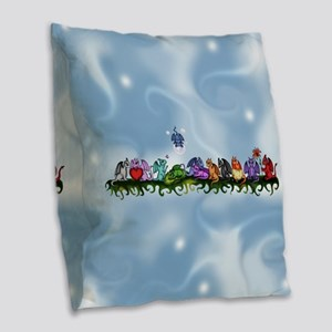 many cute Dragons Sky Burlap Throw Pillow