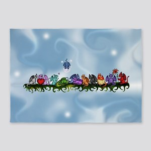many cute Dragons Sky 5'x7'Area Rug