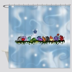 many cute Dragons Sky Shower Curtain