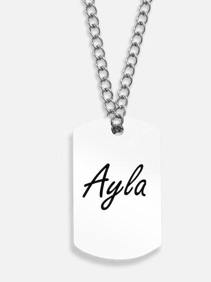 Ayla artistic Name Design Dog Tags