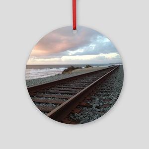Train Track into Sunset Round Ornament