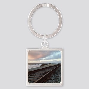 Train Track into Sunset Square Keychain