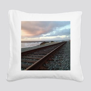 Train Track into Sunset Square Canvas Pillow