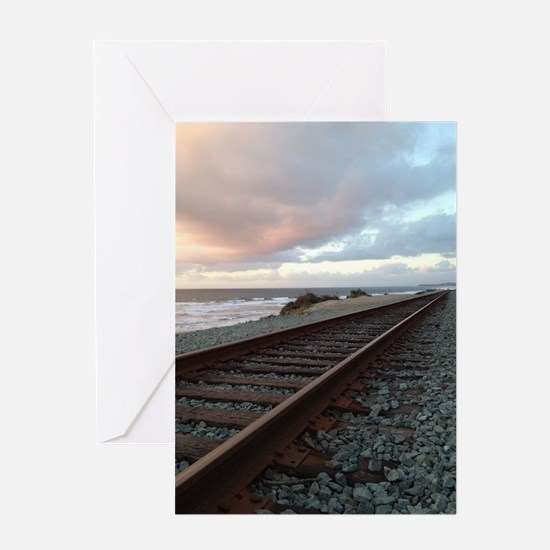 Train Track into Sunset Greeting Card