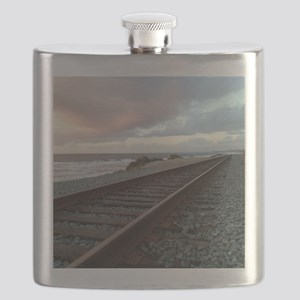 Train Track into Sunset Flask