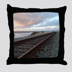Train Track into Sunset Throw Pillow