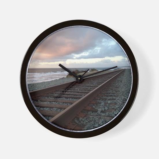Train Track into Sunset Wall Clock